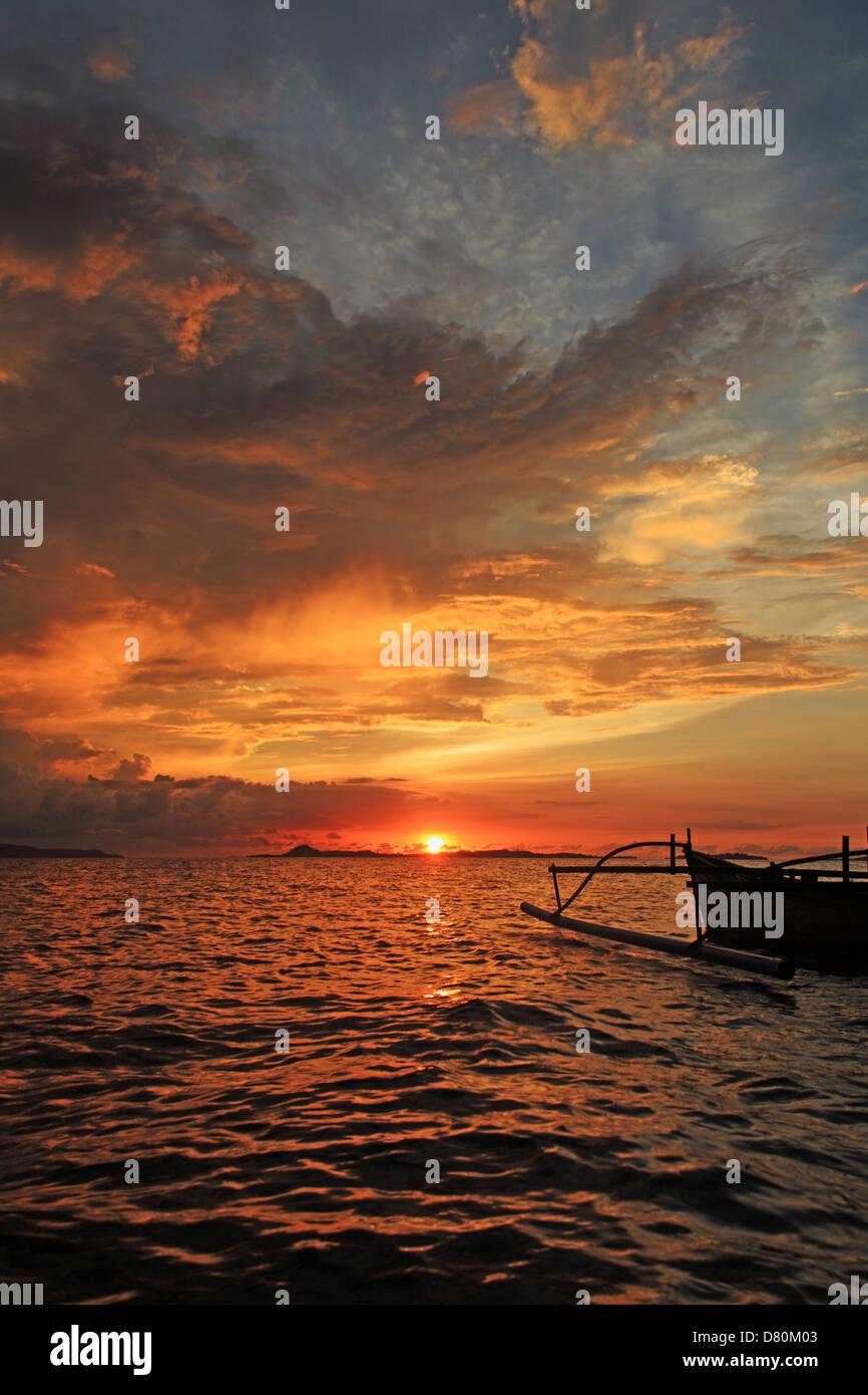 sunset on Bangka Island, North Sulawesi, Indonesia - Stock Image