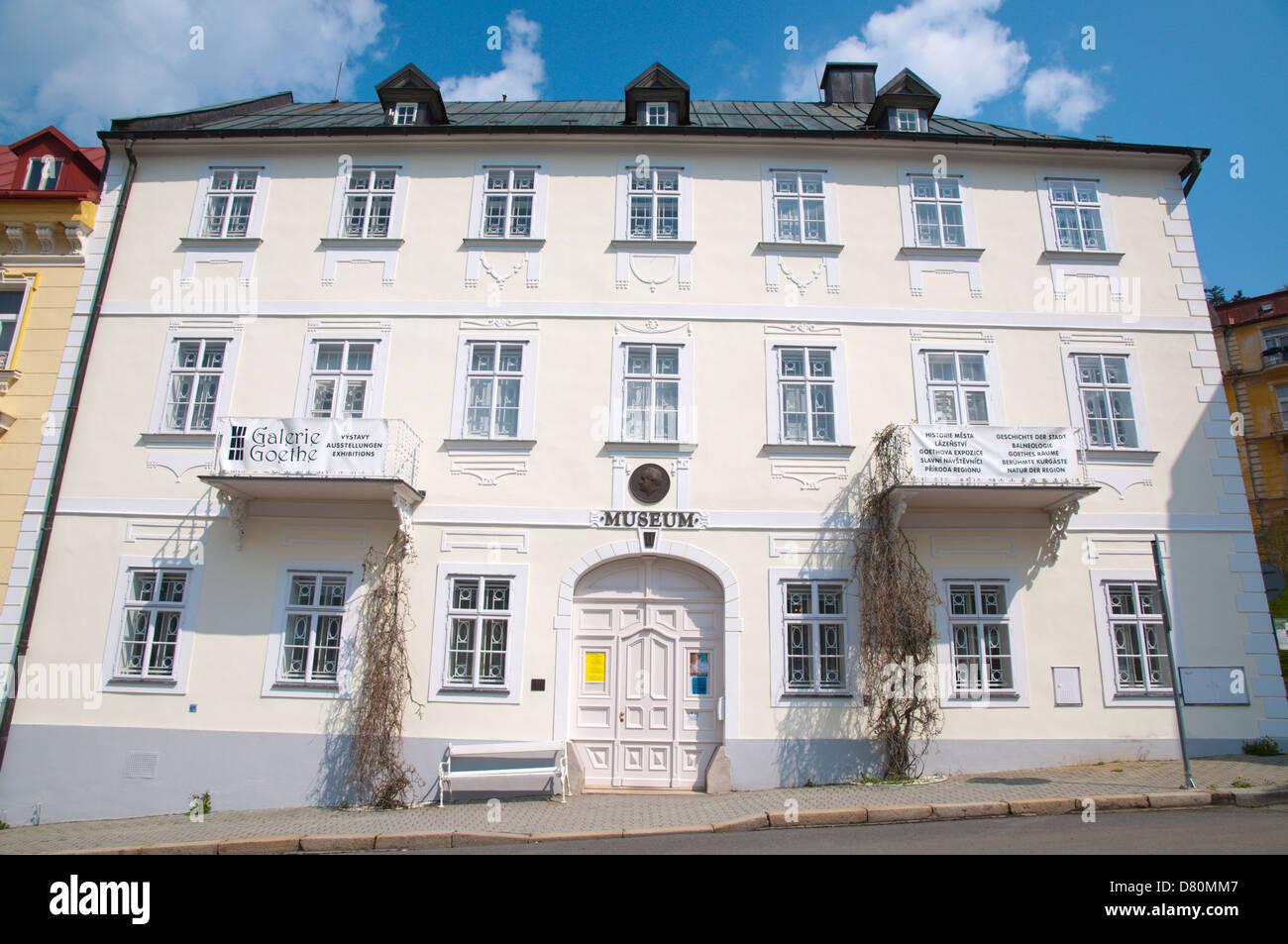 Mestske muzeum the Municipal museum exterior Goethovo namesti square Marianske Lazne aka Marienbad Karlovy vary - Stock Image
