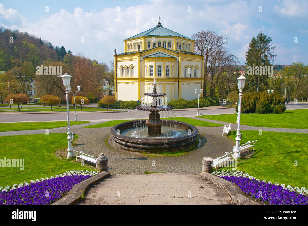 Goethovo namesti square Marianske Lazne aka Marienbad spa town Karlovy vary region Czech Republic Europe - Stock Image
