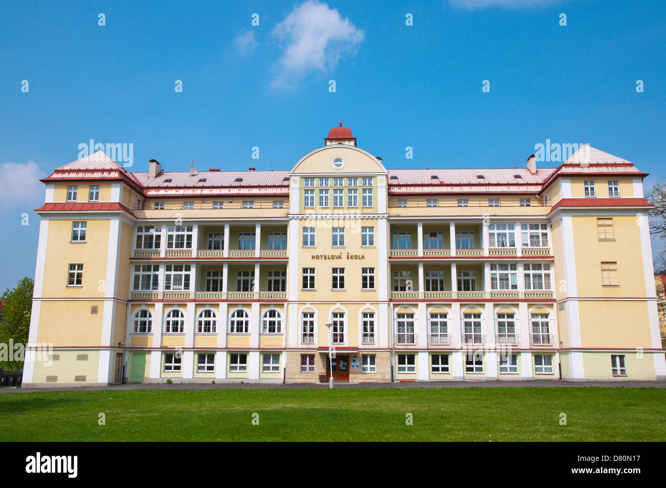 Hotelova skola the hotel industry high school Marianske Lazne aka Marienbad spa town Karlovy vary region Czech Republic - Stock Image