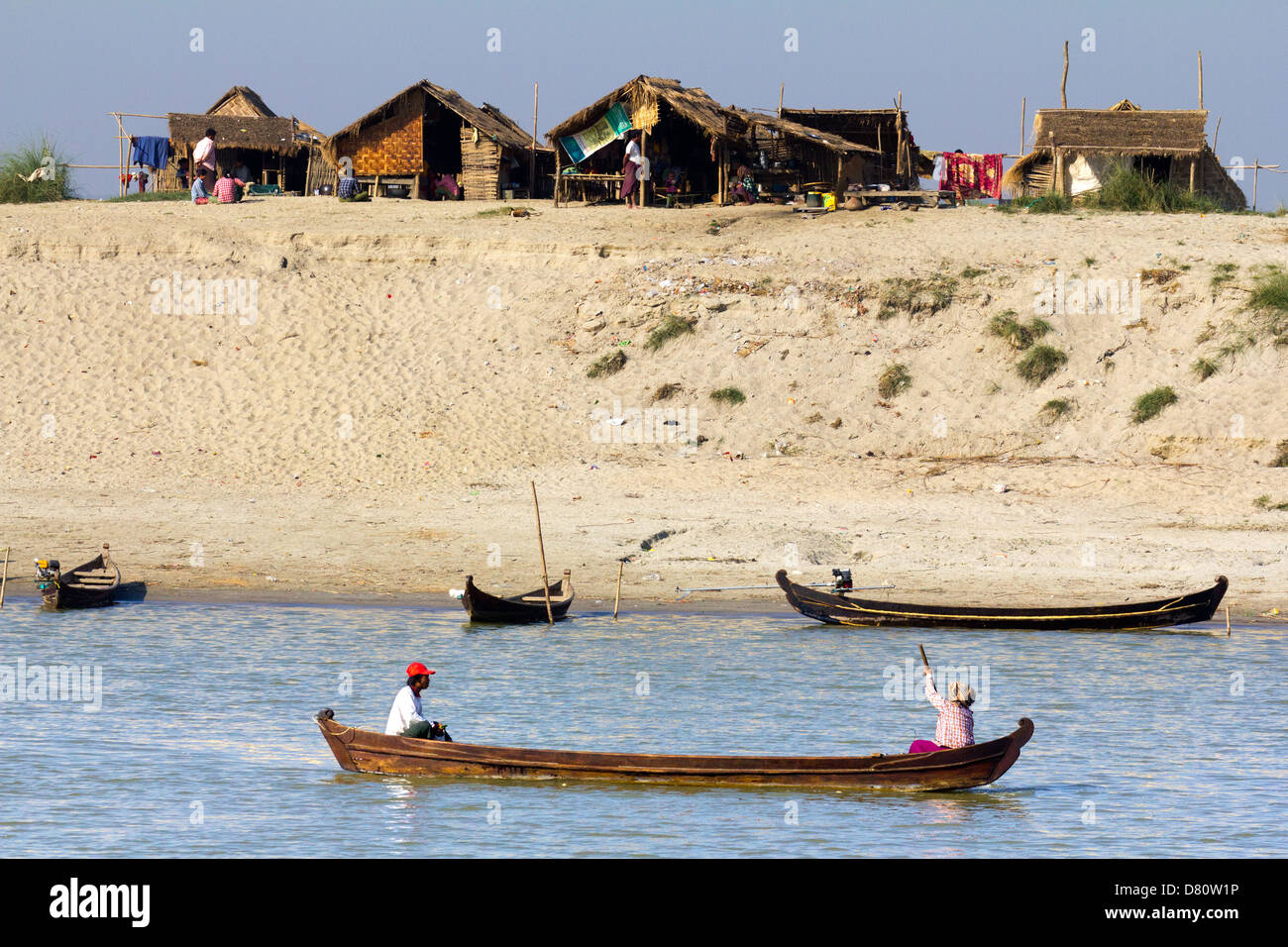 Village on the banks of the Irrawaddy close to Mandalay, Myanmar 2 - Stock Image