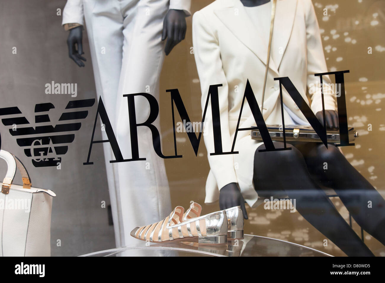 Sign for high end fashion and exclusive brand Emporio Armani. - Stock Image