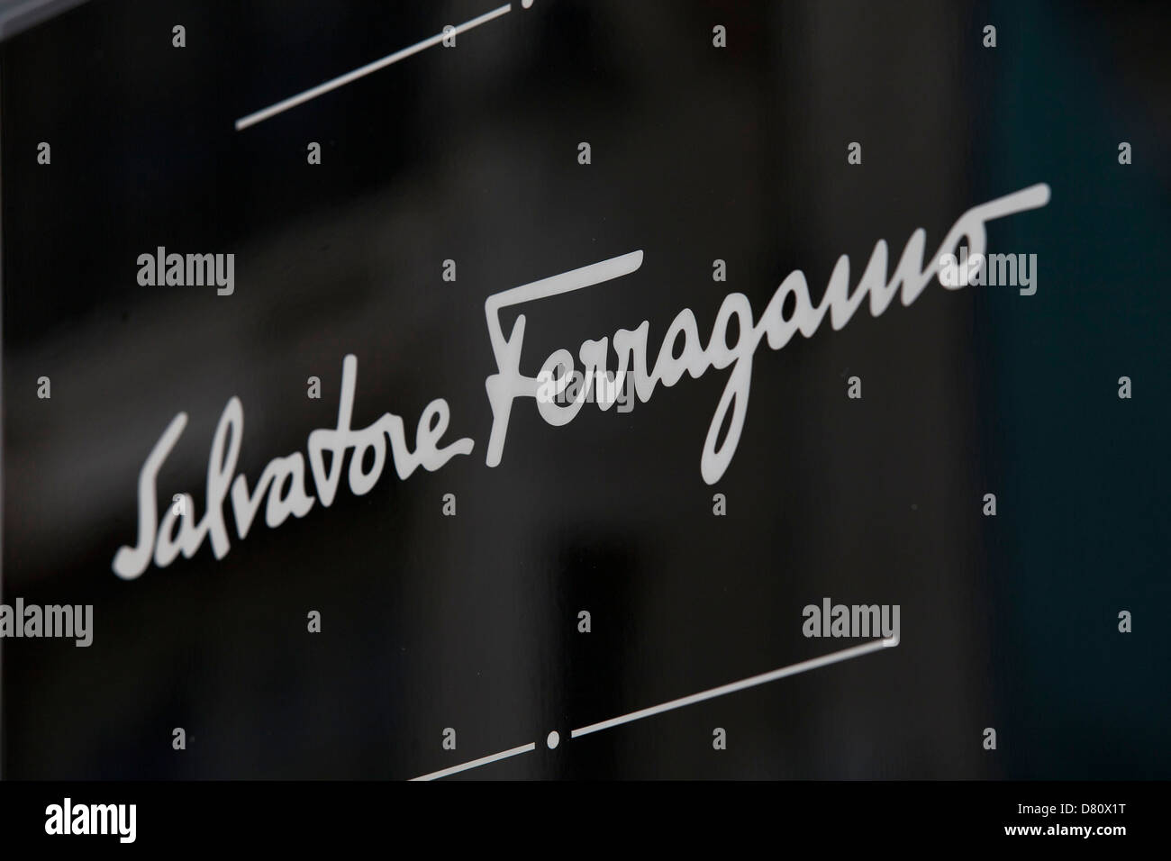 Sign for high end fashion and exclusive brand Salvatore Ferragamo. - Stock Image