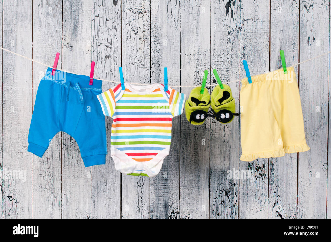 baby clothes hanging on the clothesline stock photo 56569241 alamy