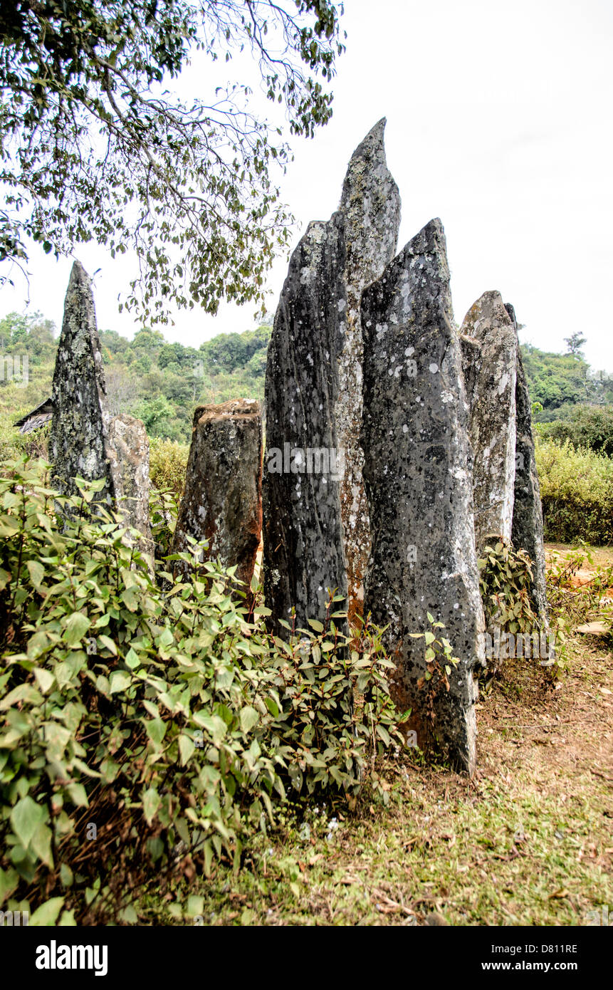 SAM NEUA, Laos - The menhirs (standing stones) or Hintang, near Sam Neua, in northeast Laos. The origin of the stones - Stock Image