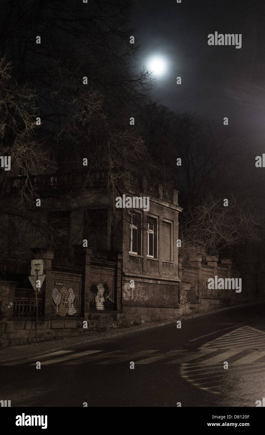 moon over street - Stock Image