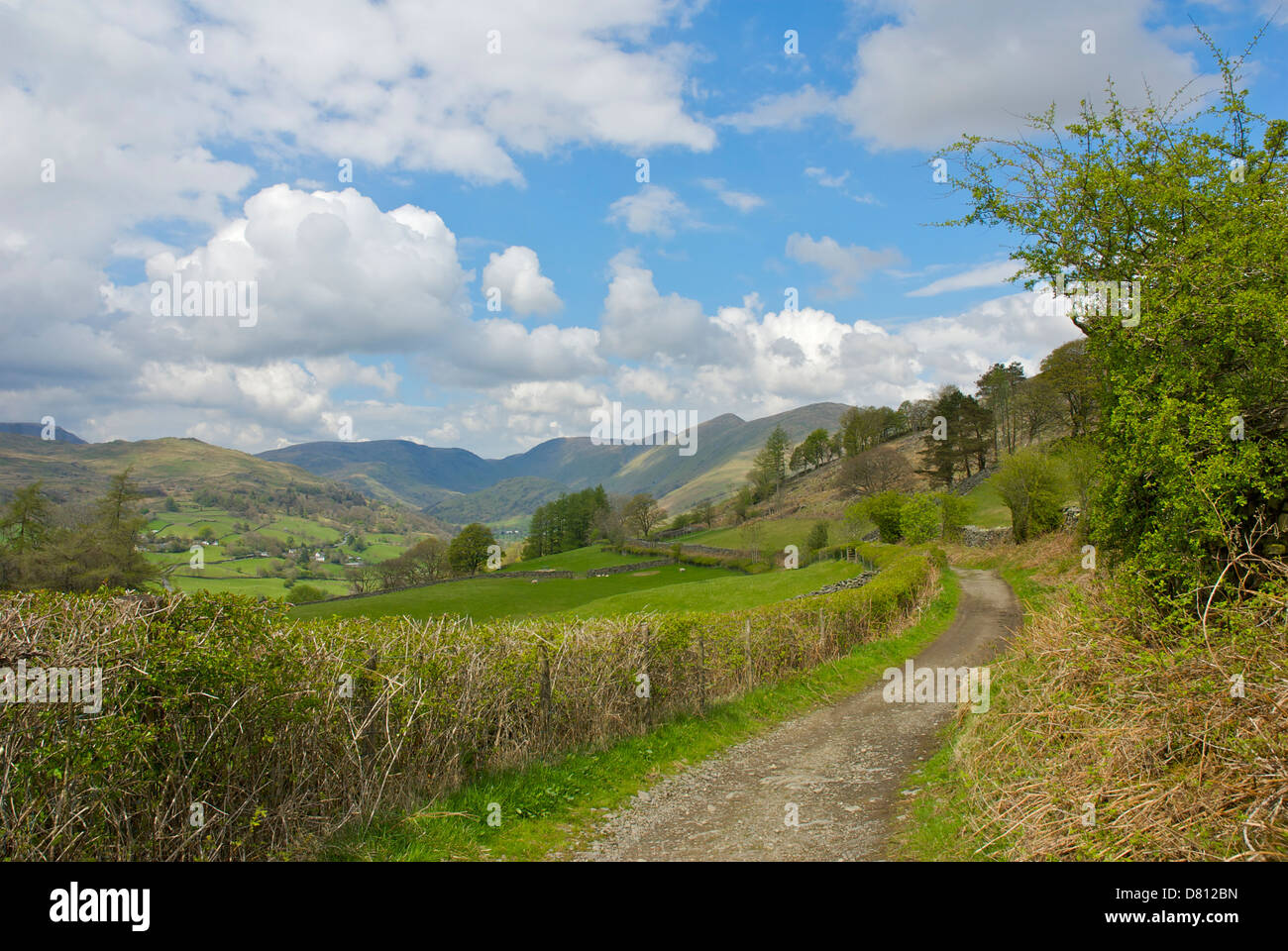 Old track - Longmires Road - in the Troutbeck valley, Lake District National Park, Cumbria, England UK - Stock Image