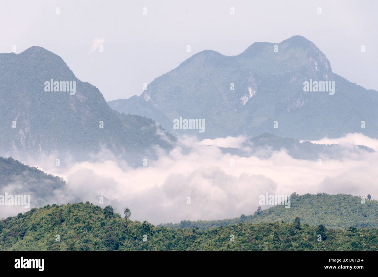 Terrain in the rugged mountainous region of northern Laos. - Stock Image