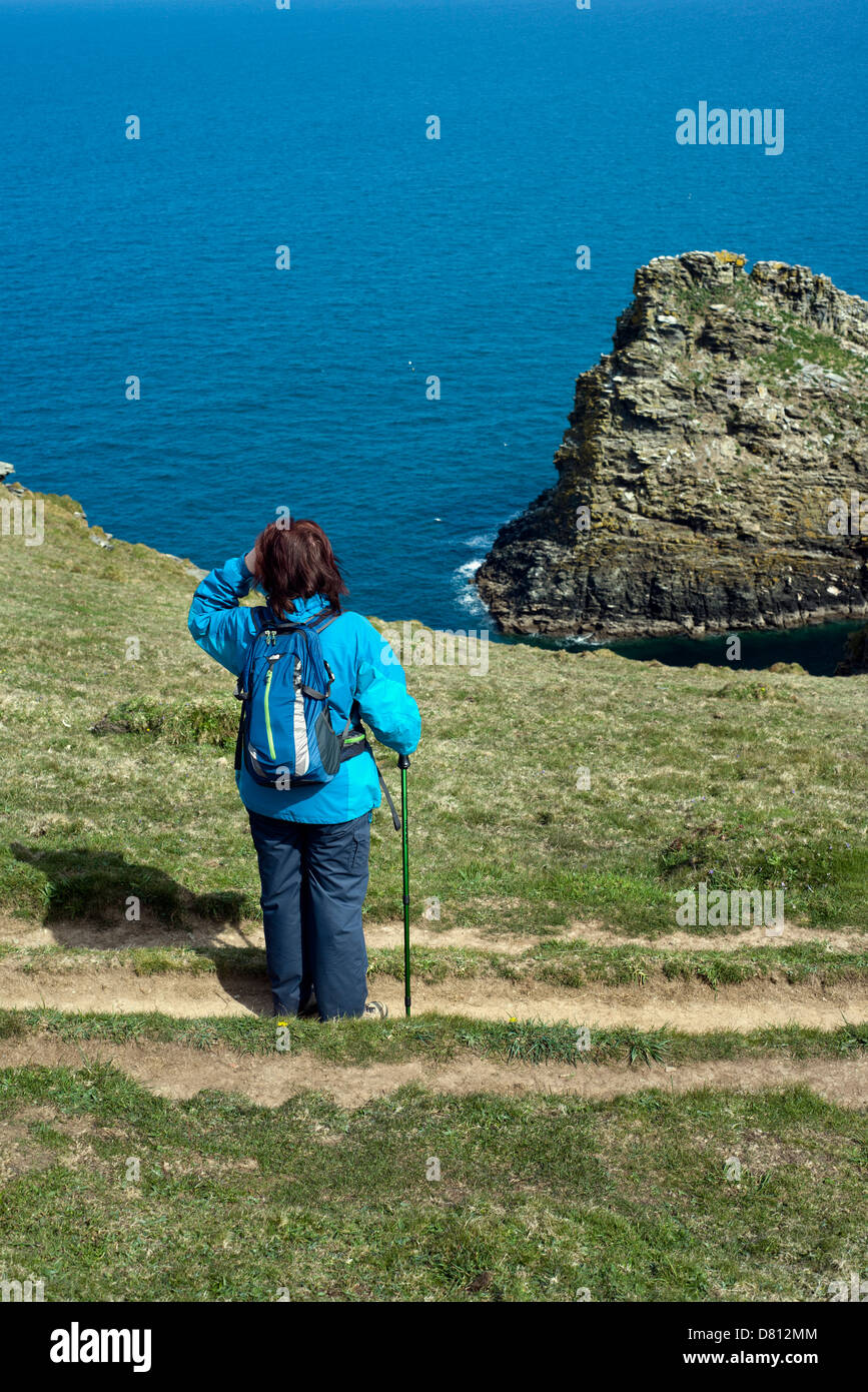 A female hiker on the South West Coast Path between Tintagel and Boscastle in north Cornwall, England, UK - Stock Image