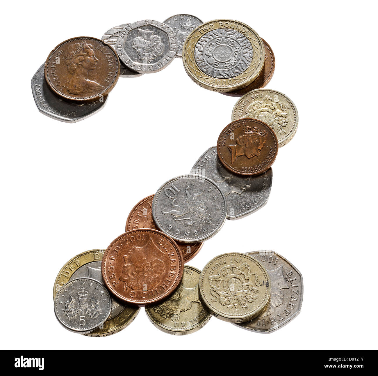 UK Coin font numbers letters words - Stock Image