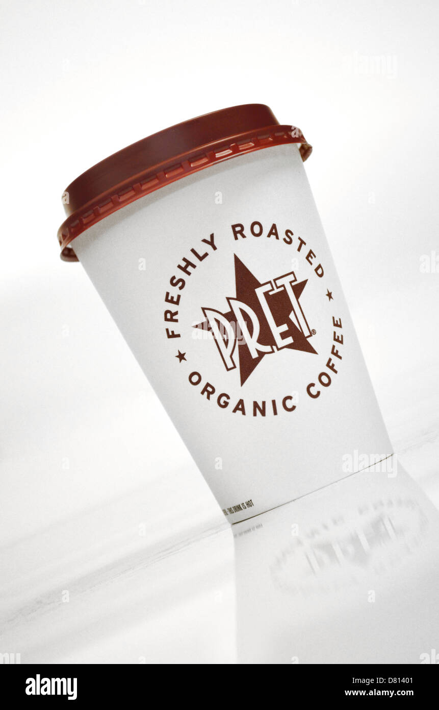 Pret a manger cup on white background slanted - Stock Image