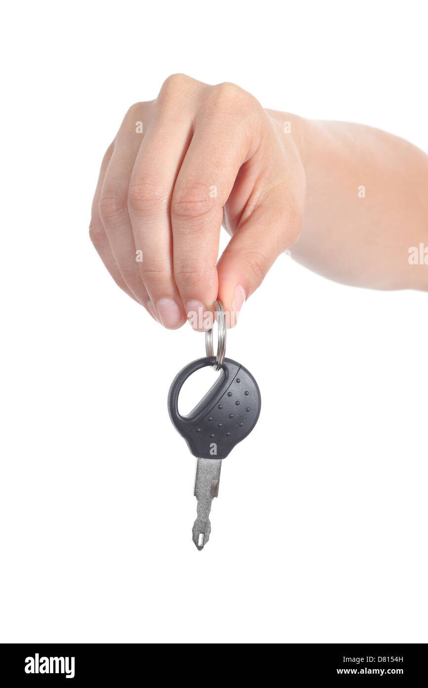 Woman Hand Giving A Car Key Isolated On A White Background