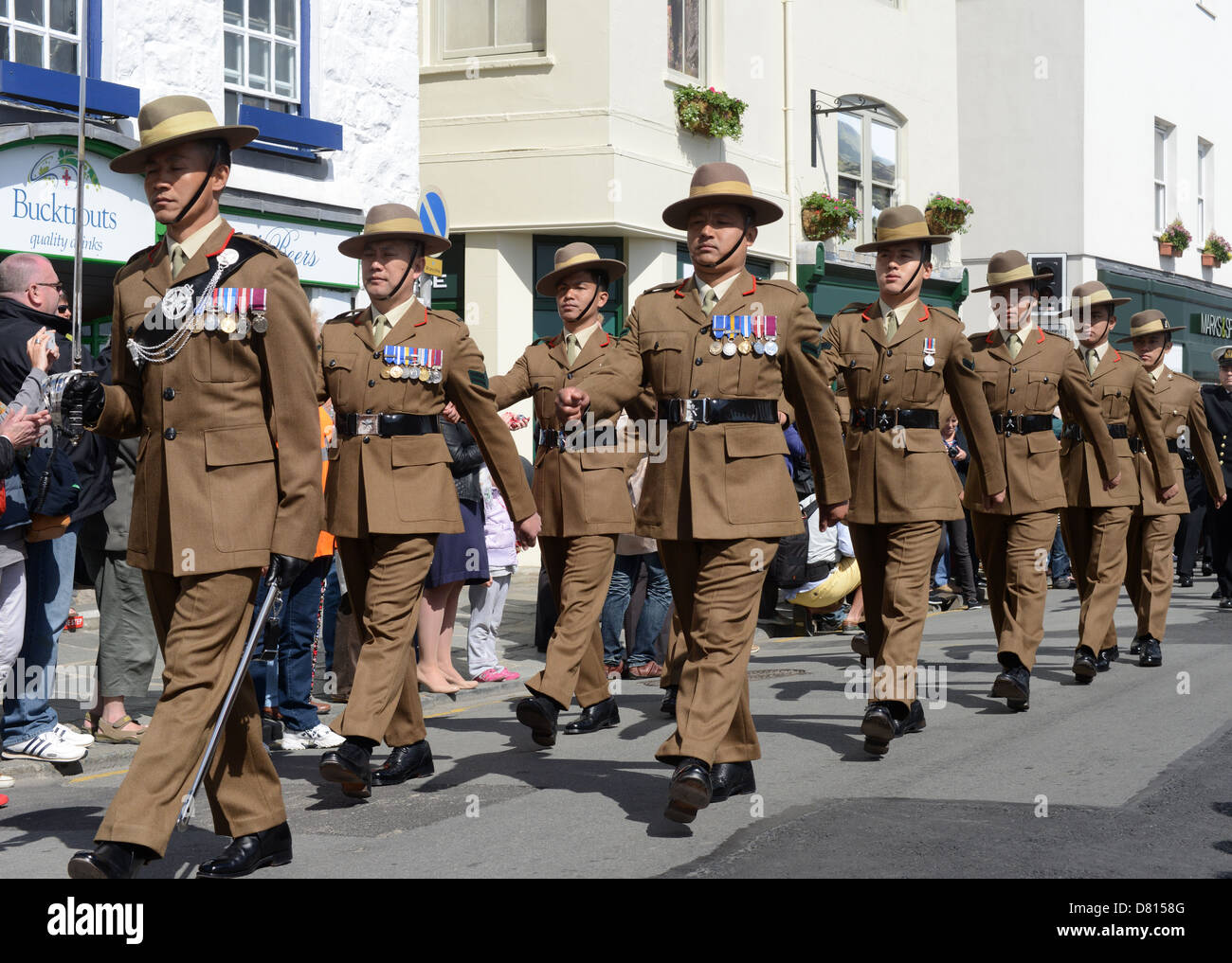 Gurkha troops on parade for the Liberation Day celebrations in Guernsey - Stock Image