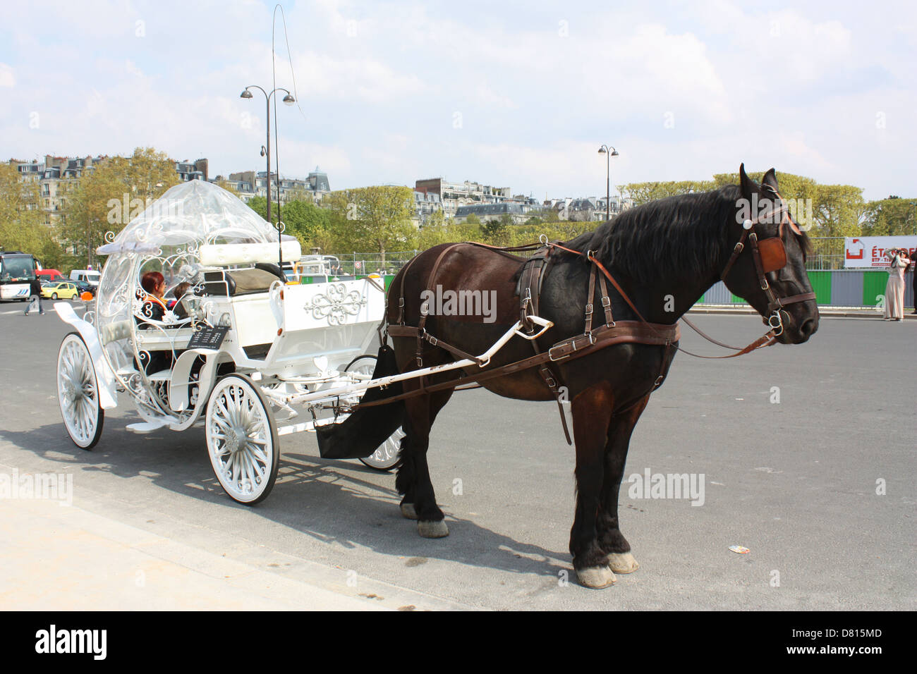 Horse chariot with passengers in Paris, France Stock Photo