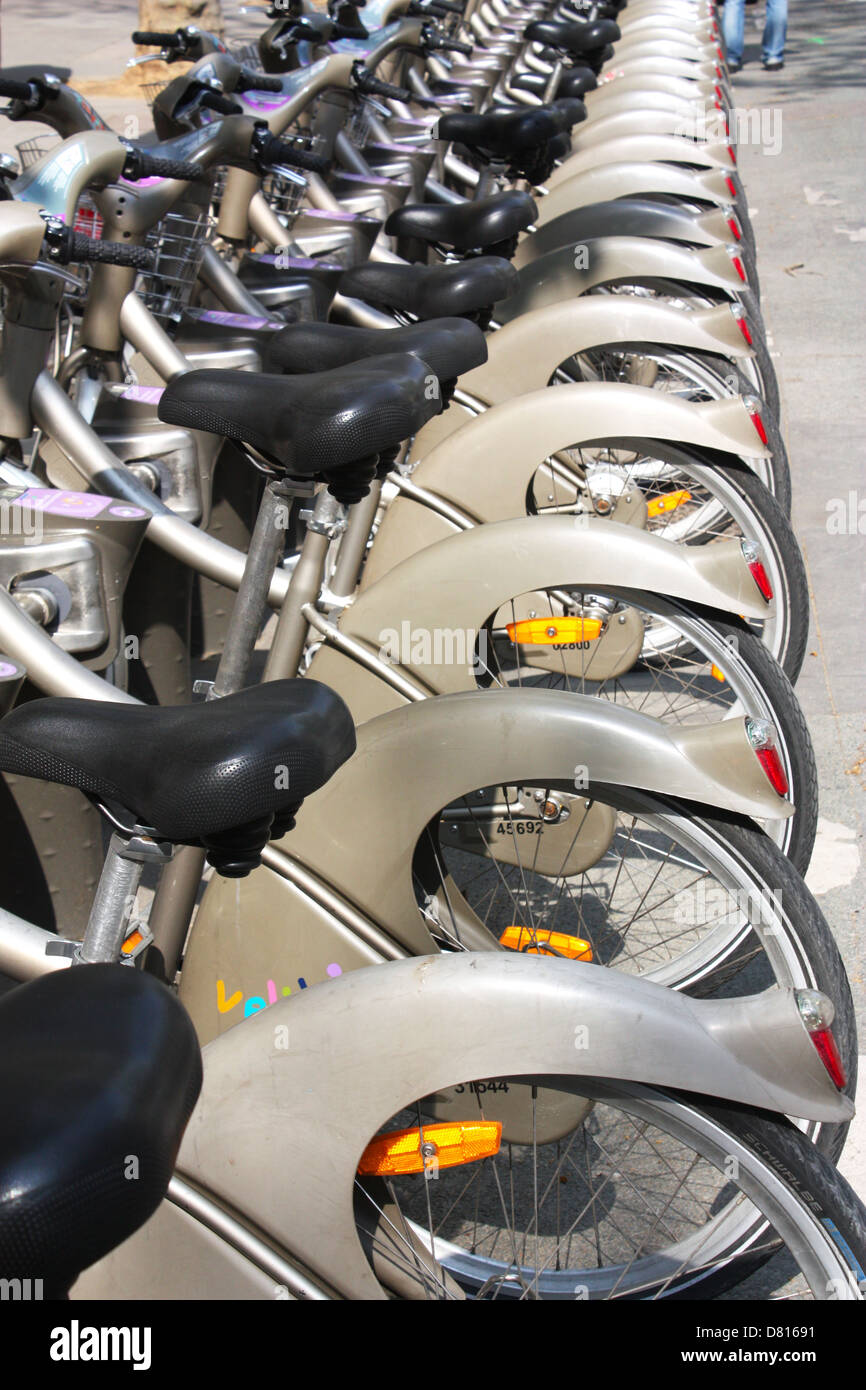 Lined bikes in Paris, France Stock Photo