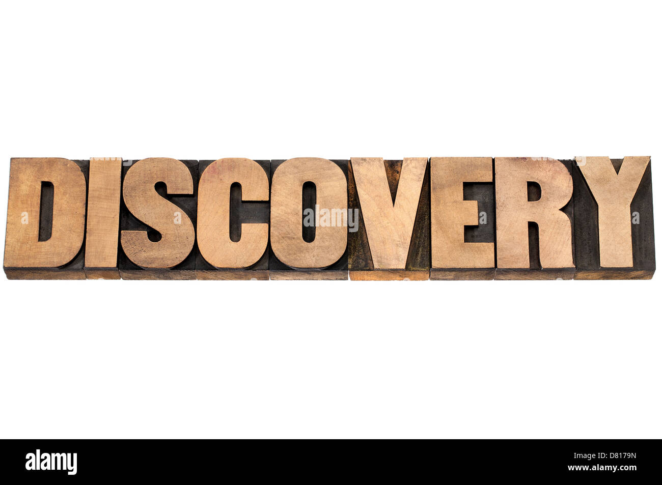 discovery word - isolated text in letterpress wood type printing blocks - Stock Image