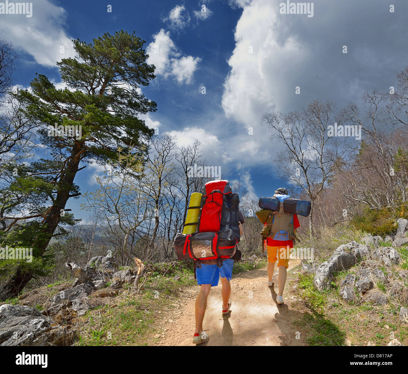 Two backpackers in mountains. Russia. Caucasus - Stock Image