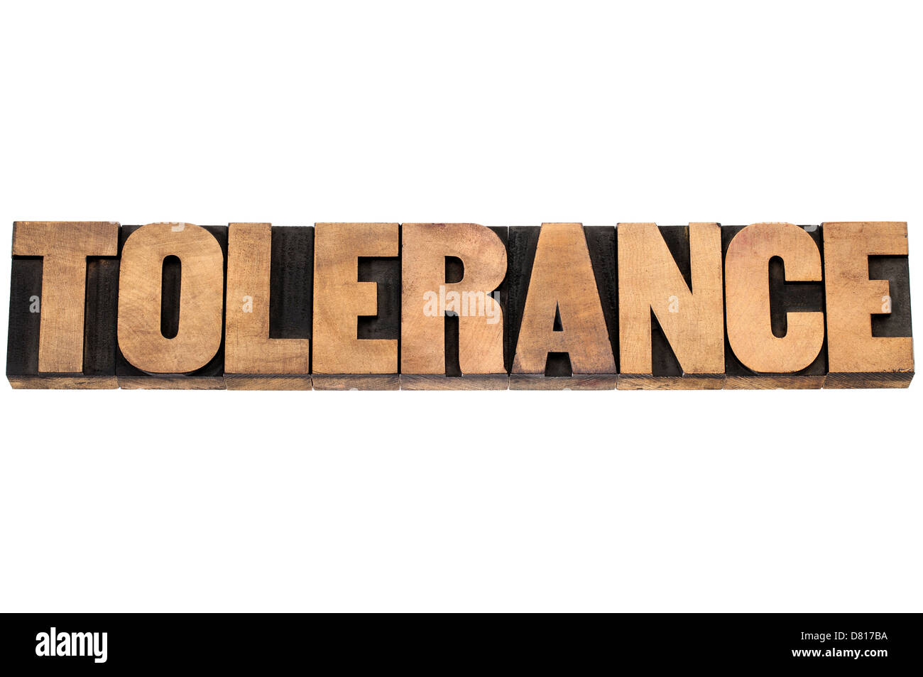 tolerance word - isolated text in letterpress wood type printing blocks - Stock Image