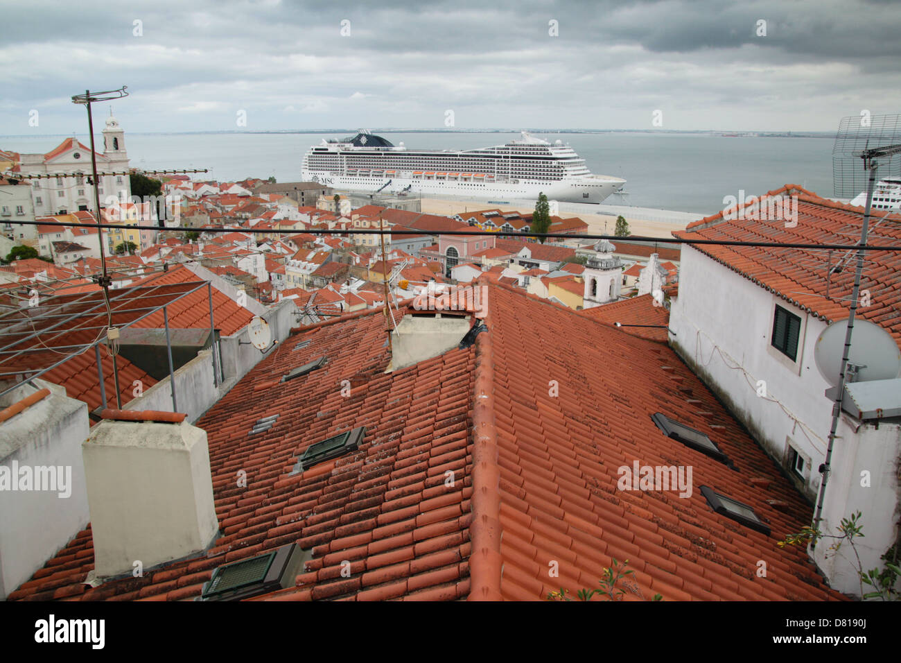 A part of MSC fleet - MSC POESIA in one of her dock during the Mediterranean cruise. - Stock Image