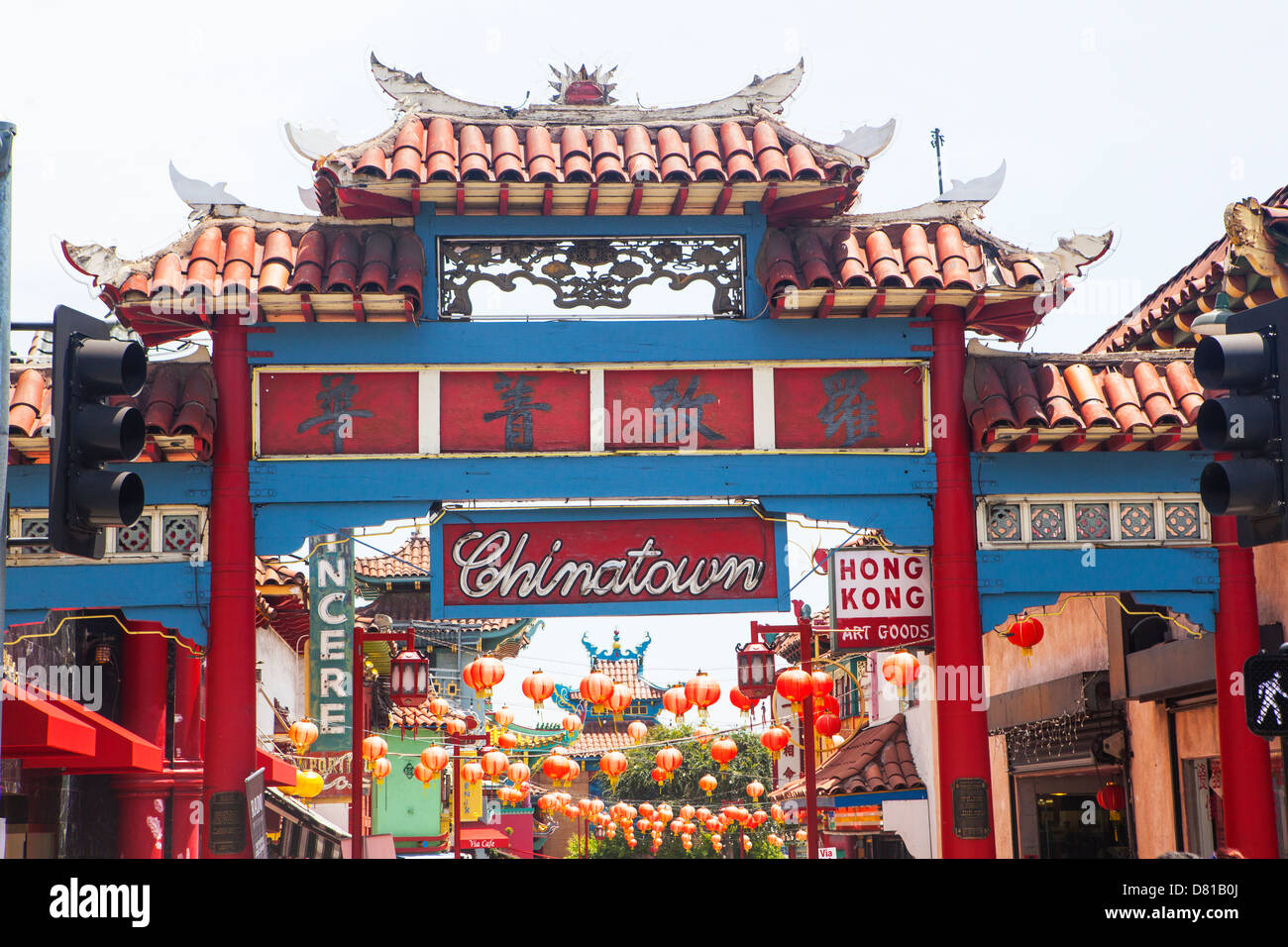 entrance sign to chinatown los angeles california stock. Black Bedroom Furniture Sets. Home Design Ideas