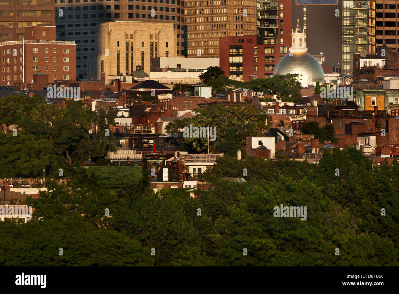 A closeup view of Beacon Hill in Boston as seen from across the Charles River - Stock Image