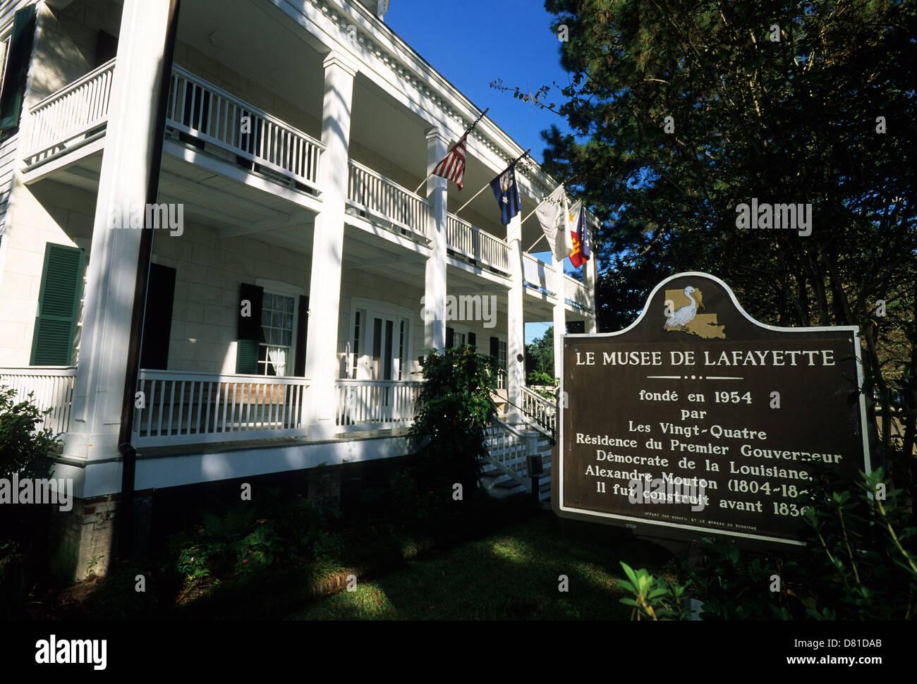 Elk283-3515 Louisiana, Cajun Country, Lafayette, Alexandre Mouton House Museum, 1836 - Stock Image