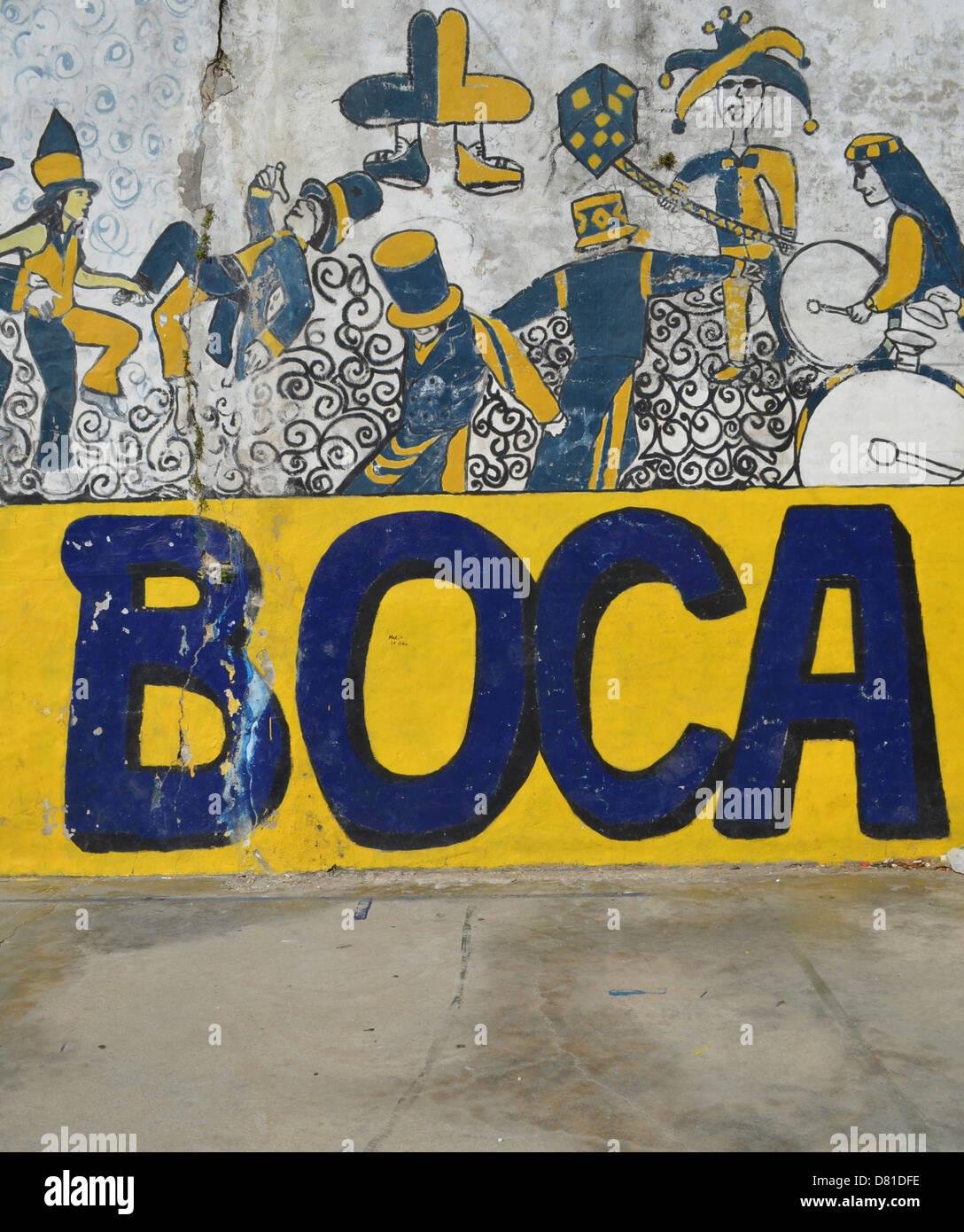 Colourful graffiti and wall art in a playground in the La Boca Stock ...