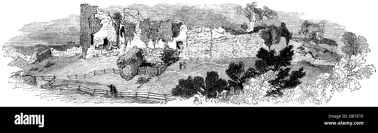 Vintage engraving: General view of Pevensey Castle Ruins - Stock Image