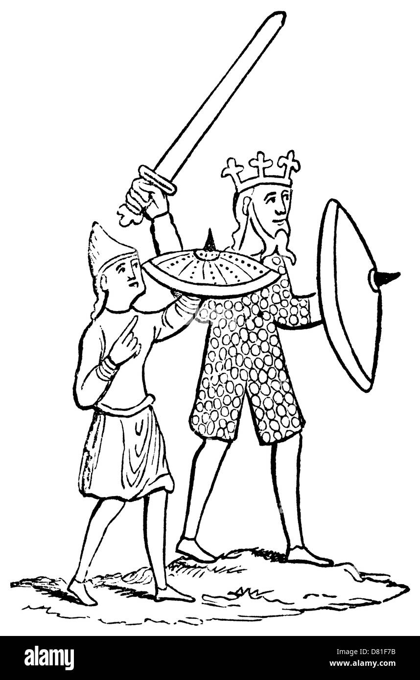 Ringed mail from 1230 A.D. drawing of a Norman or late Saxon king and his page-boy. - Stock Image
