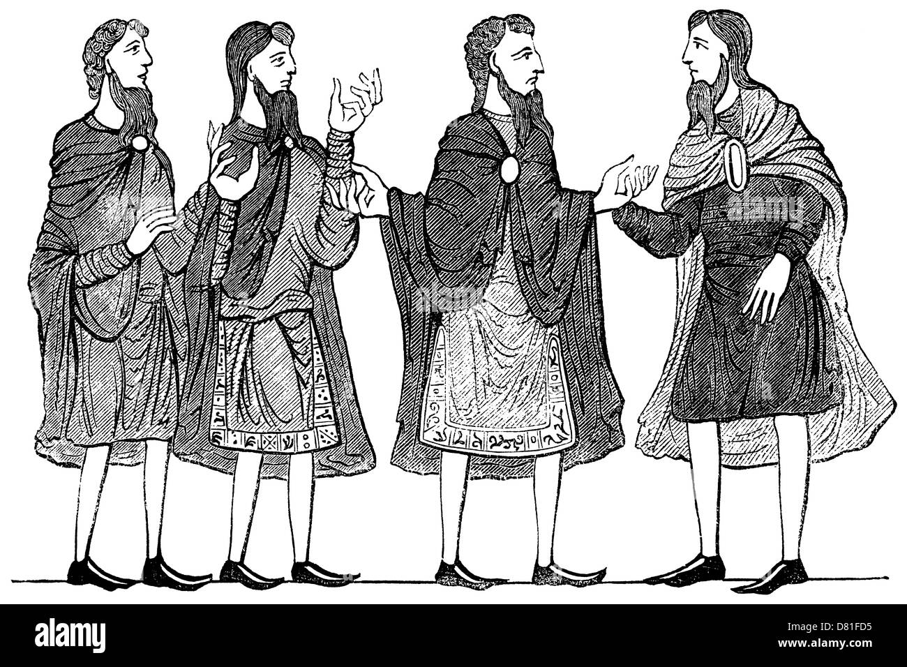 Saxon cloaks, and plain and embroidered tunics; vintage woodcut based on medieval manuscript decoration. - Stock Image