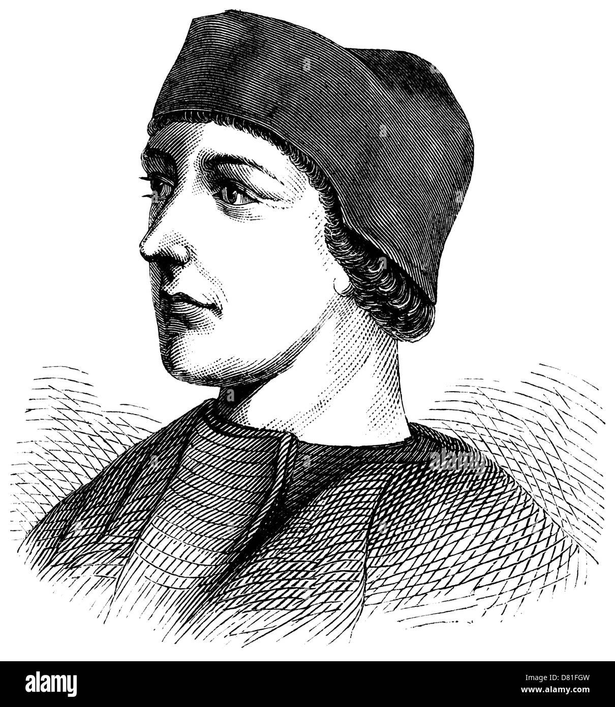 Vintage portrait of Dean John Colet (1466-1519), an engraving or wood-cut; John Colet founded St. Paul's School - Stock Image