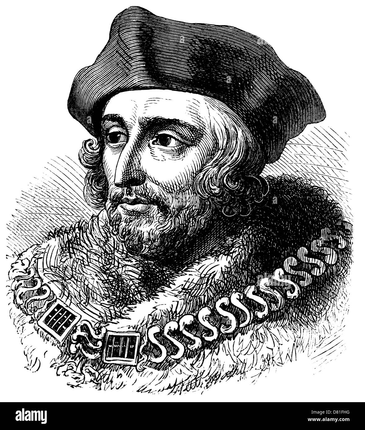 Portrait of Sir Thomas More: a vintage engraving. - Stock Image