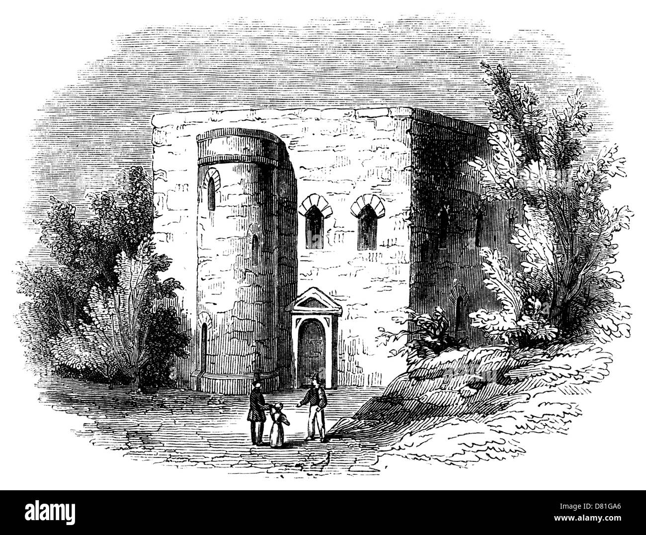 Sanctuary, Westminster, From a sketch by Dr. Stukeley, before its destruction in 1775.  It was built long before - Stock Image