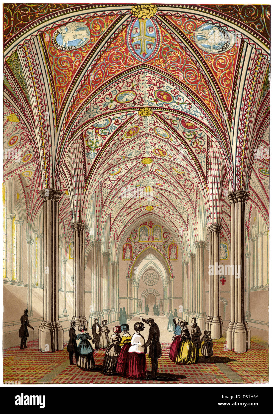 Interior of the Temple Church, London, Home of the Knights Templar. From an 1840s coloured engraving. - Stock Image