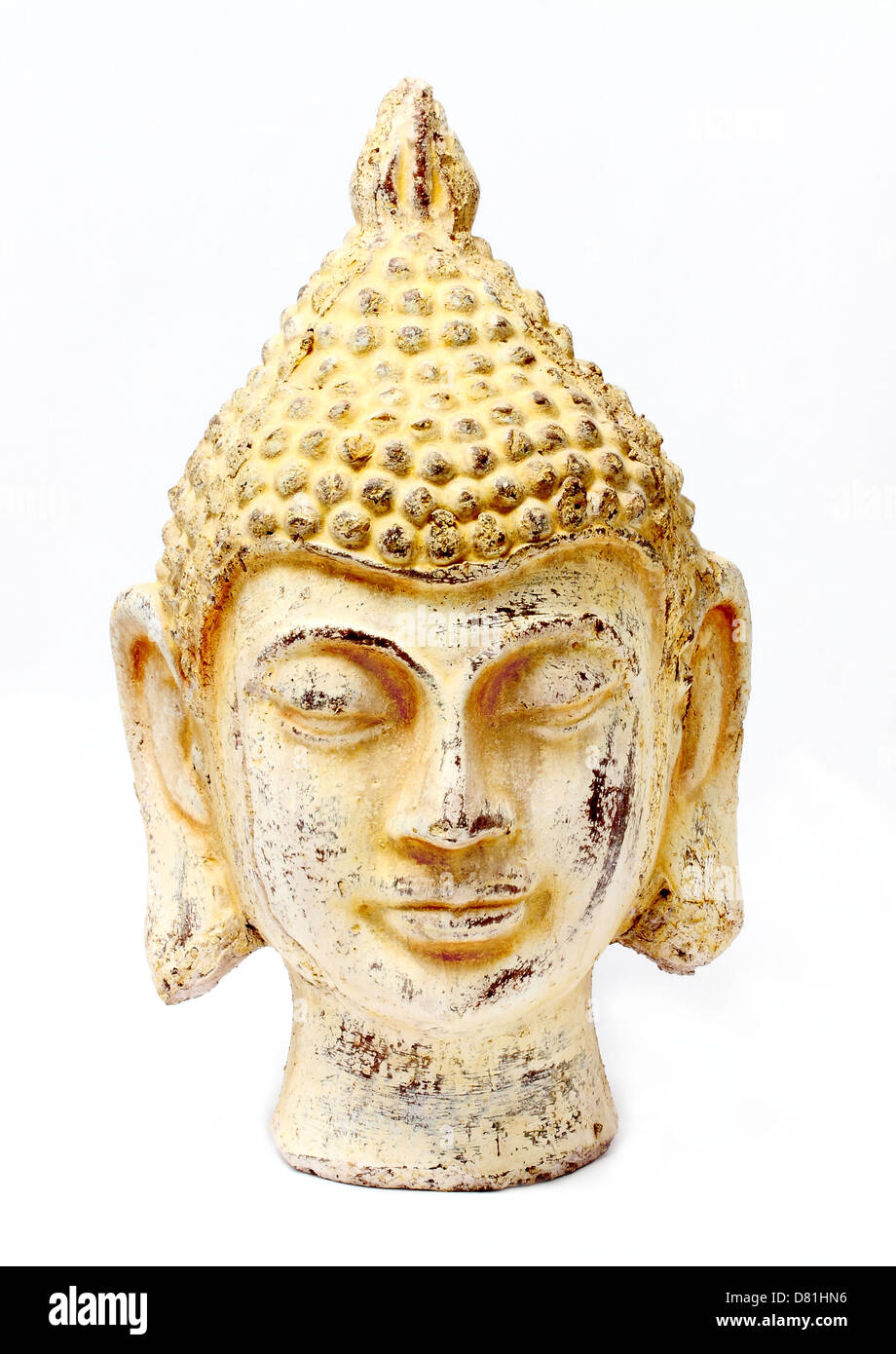 Buddha white stone head - Stock Image