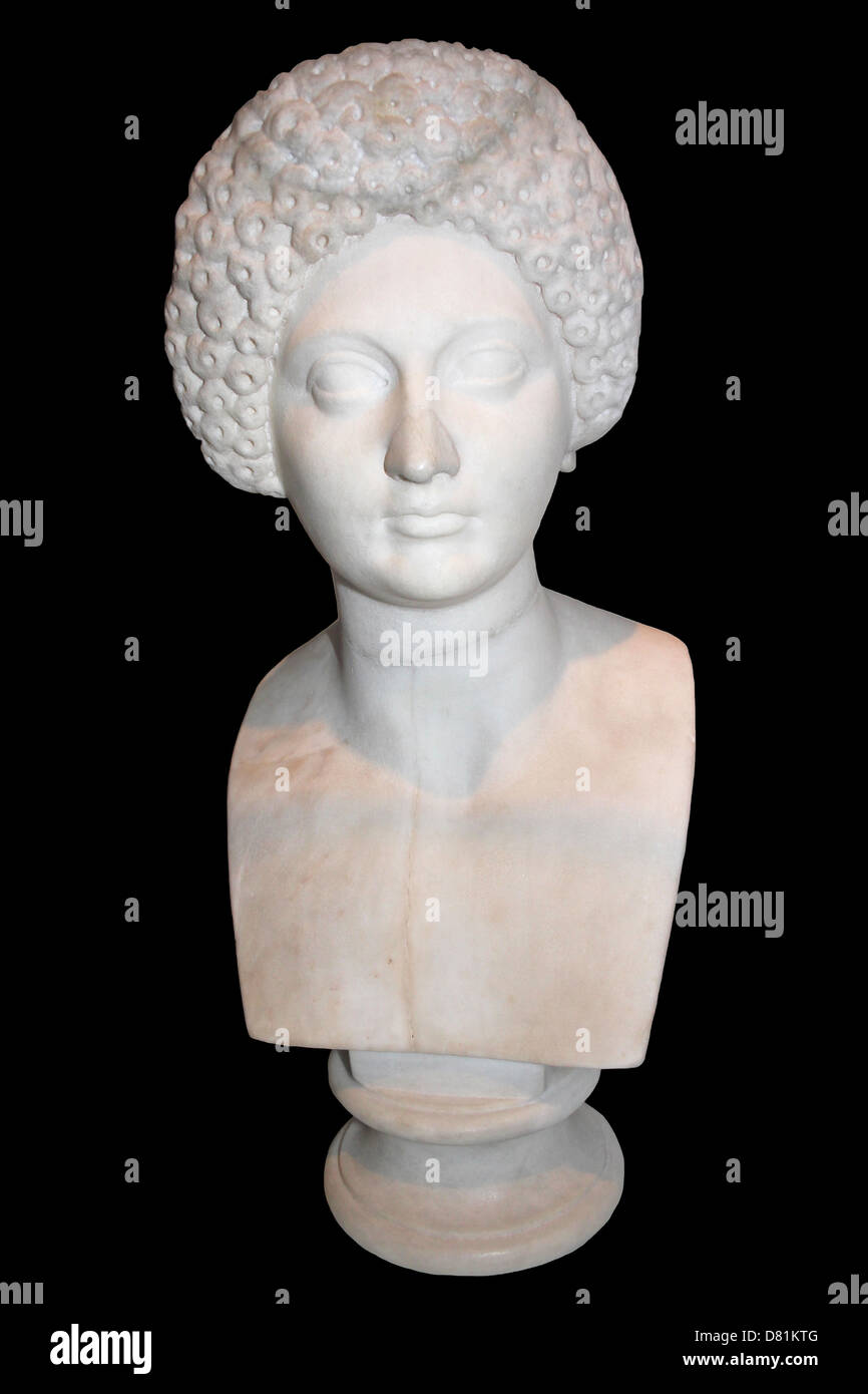 Portrait Bust Of A Roman Lady Showing Elaborate Hairstyle Early Second Century AD - Stock Image