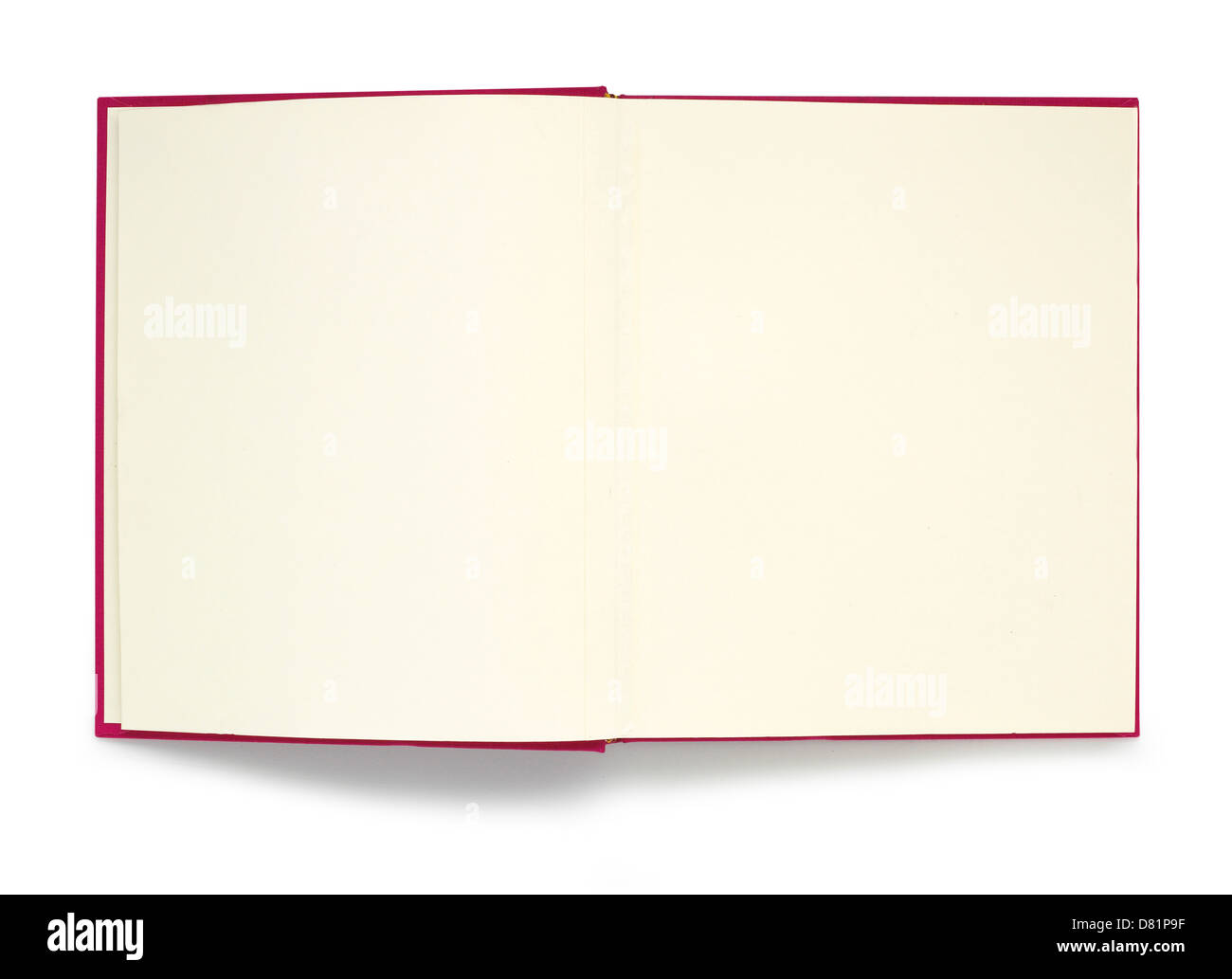 Open red book with empty plain white pages cut out onto a white background - Stock Image