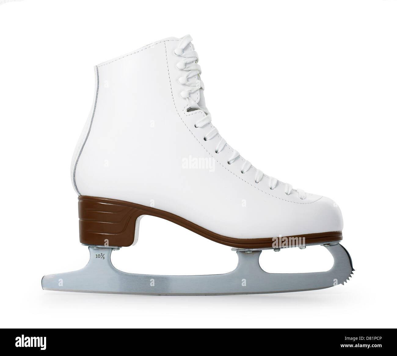 ice skate boot cut out onto a white background - Stock Image