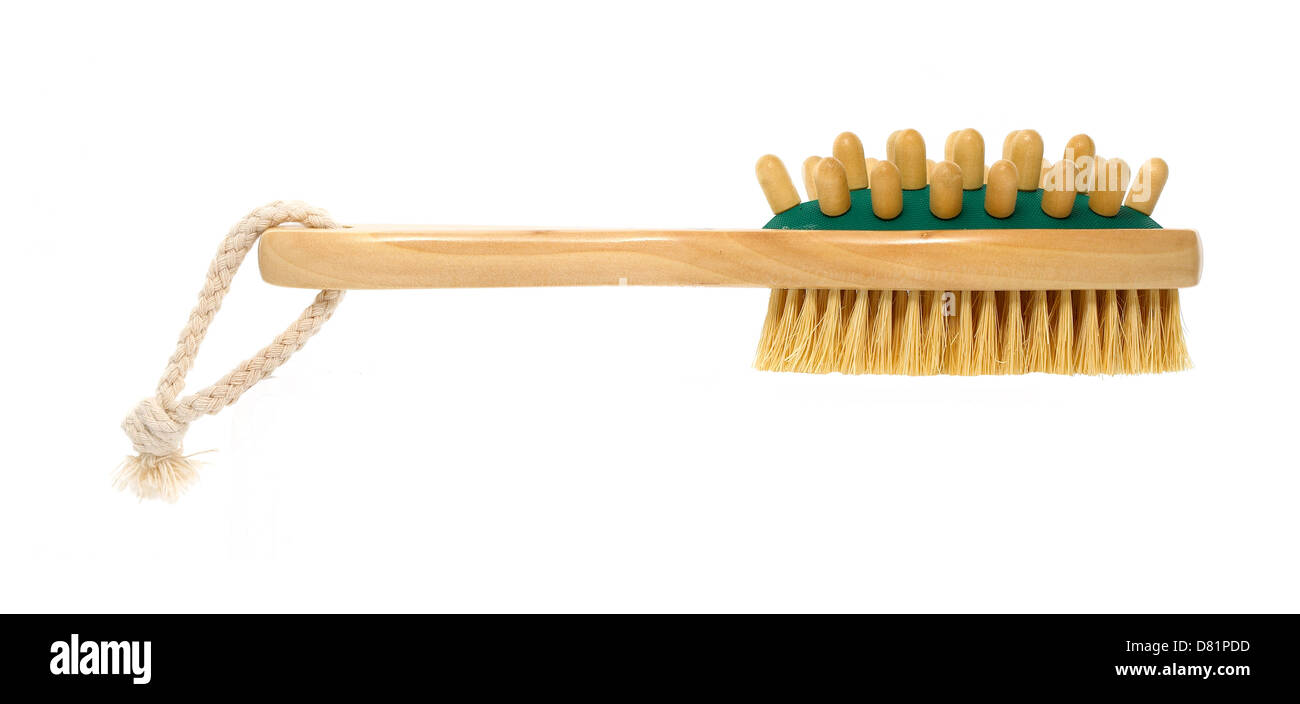 wooden bath scrub brush cut out onto a white background - Stock Image