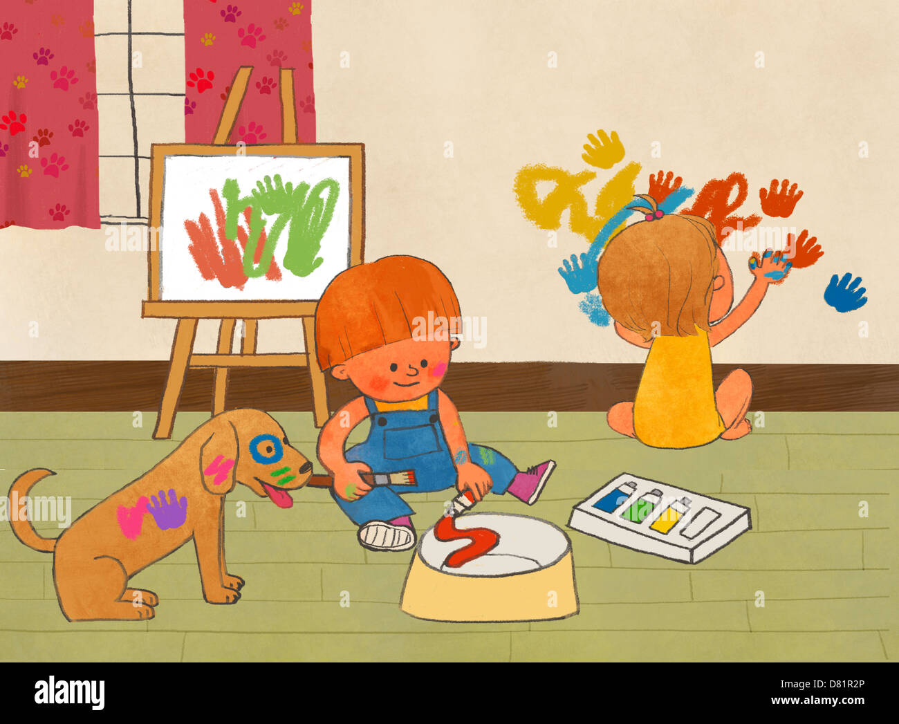 An illustration of children at play. - Stock Image