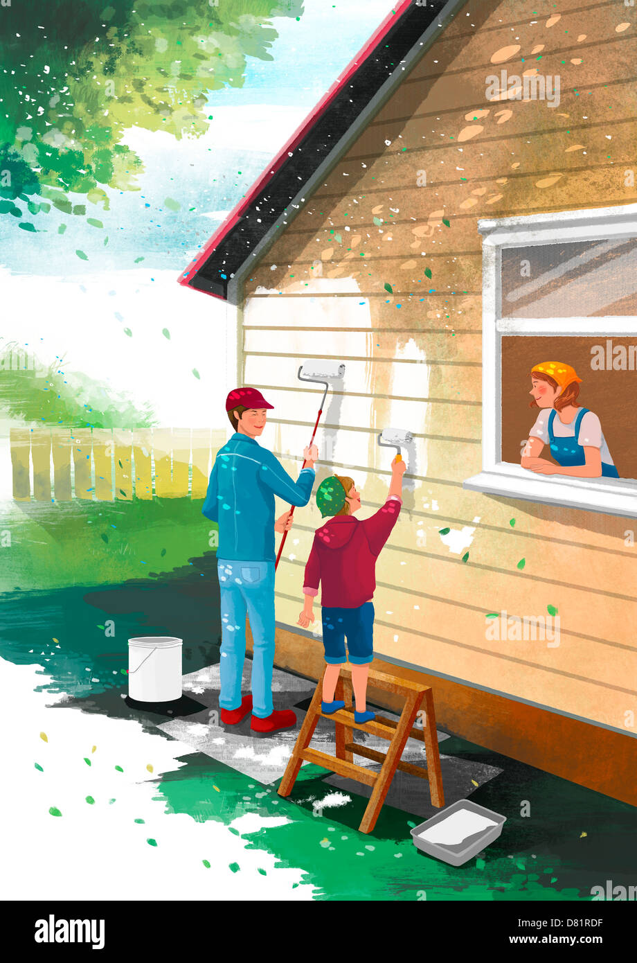 An Illustration Showing A Family Painting House