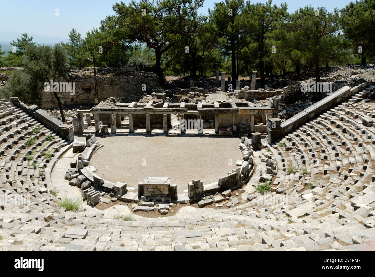 Priene. Turkey. Rer view of the 4th century BC theatre in Priene. Located in the northern part of the city the theatre Stock Photo