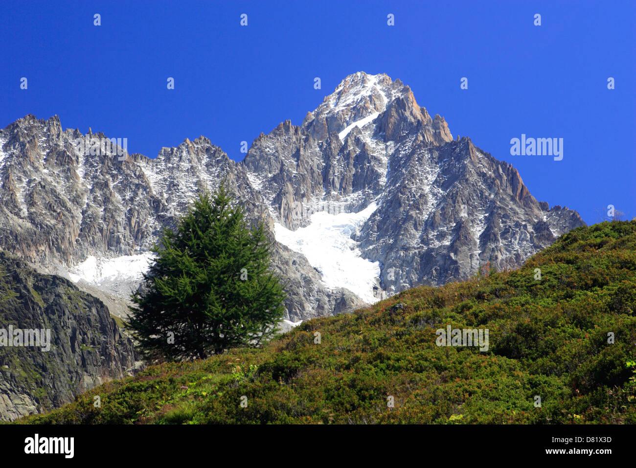 Aiguille du Chardonnet ( 3824 m ) Massif du Mont Blanc, Argentiere ( Chamonix Valley ), France Stock Photo