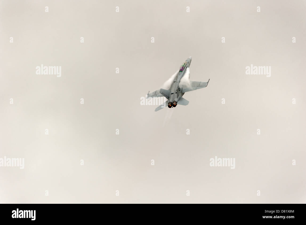 An F/A-18 fighter jet goes through its paces at an air show in Australia. - Stock Image