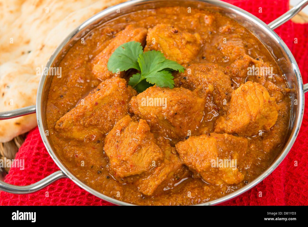 Goan Pork Vindaloo Indian Pork Curry With Naan Bread