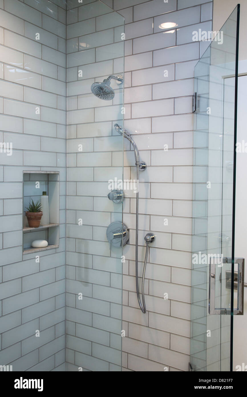 Large Walk-in Shower Stall, Residential Home, USA Stock Photo ...