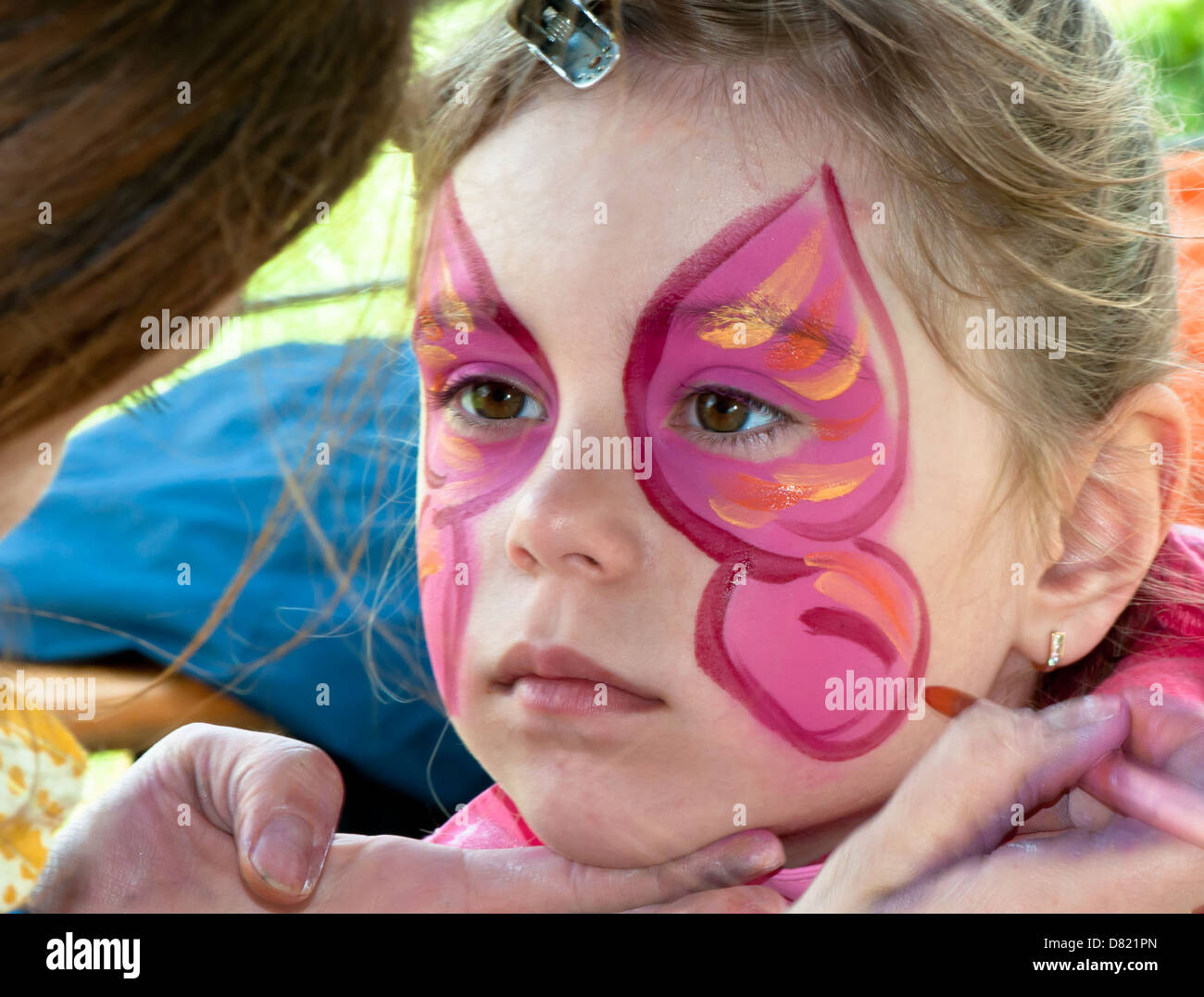 Artist, Creativity, Body Adornment, Body Paint, Caucasian, Indoors, Childhood, Red, Face Paint, Child, Preschool, - Stock Image
