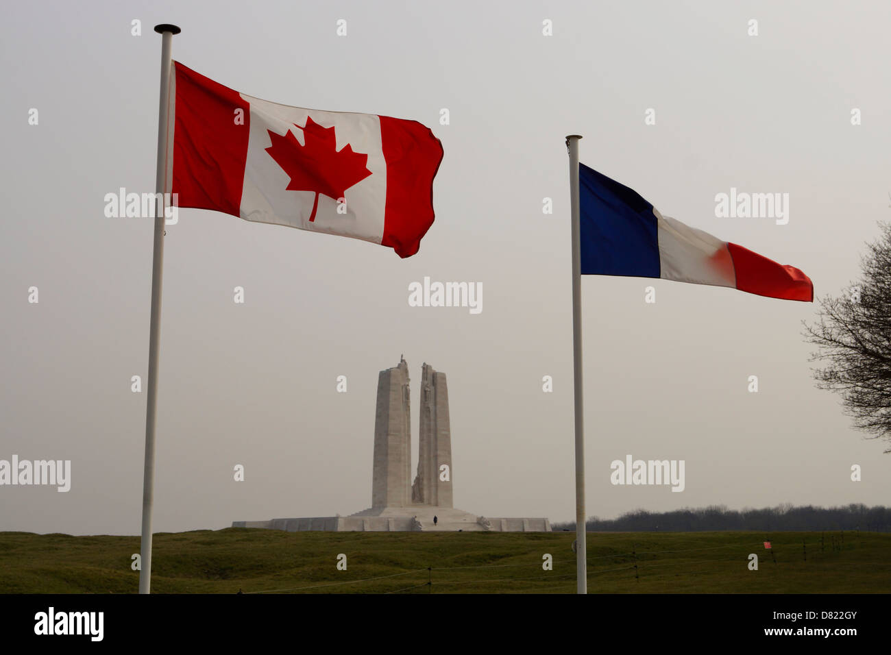 Canadian Memorial to the dead and missing on Hill 145 of Vimy Ridge, France - Stock Image