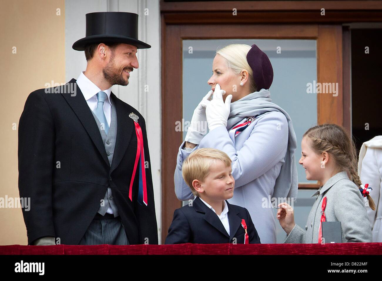 0db0944f Crown Prince Haakon, Crown Princess Mette-Marit, their children Prince  Sverre Magnus and Princess Ingrid Alexandra attend the National Day  celebrations at ...
