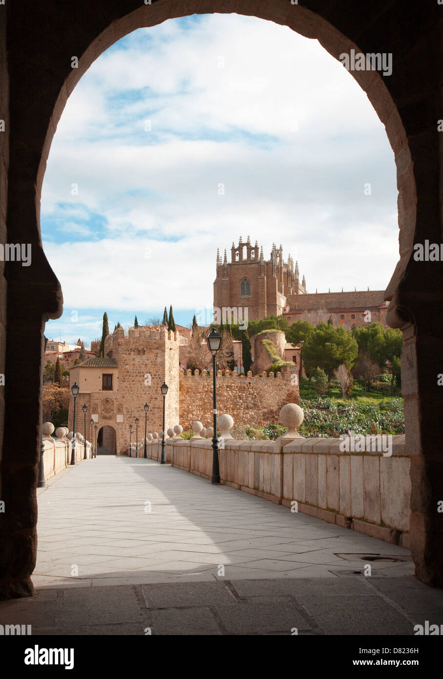 Toledo - Outlook form San Martin s bride or Puente de san Martin to Monastery of saint John of the King in morning - Stock Image